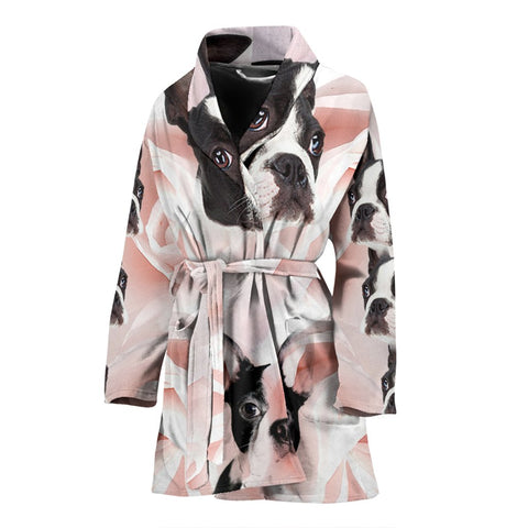 Boston Terrier Print Women's Bath Robe