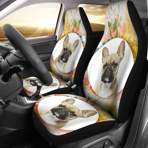 Colorful French Bulldog Print Car Seat Covers
