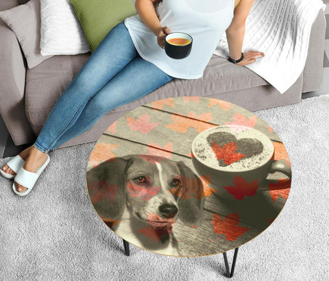 American Foxhound Print Circular Coffee Table