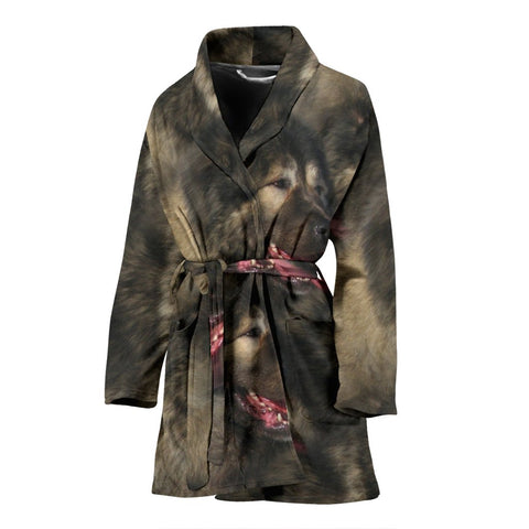 Caucasian Shepherd Dog Print Women's Bath Robe