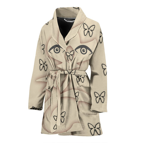 Butterfly With Eyes Print Women's Bath Robe