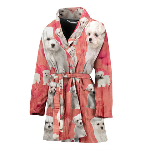 Maltese Dog On Pink Print Women's Bath Robe