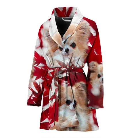 Cute Chihuahua On Red Print Women's Bath Robe