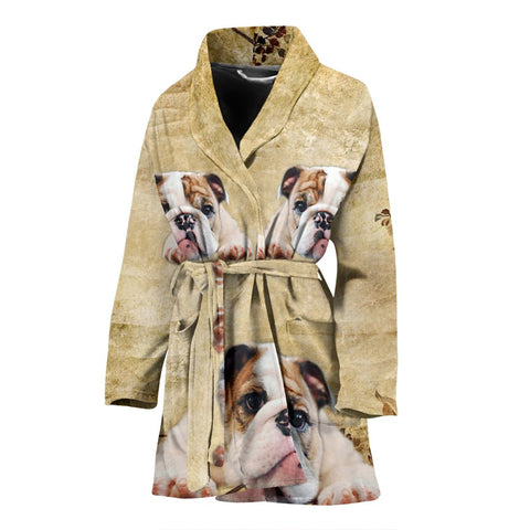 Bulldog Print Women's Bath Robe