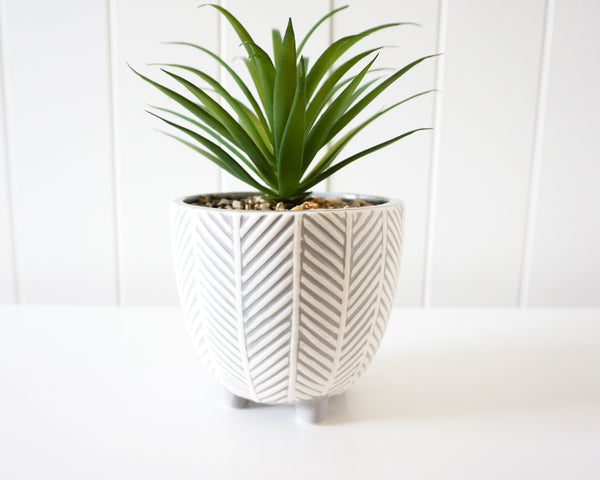 Plant and Pot - Tapered Chevron Grey and White