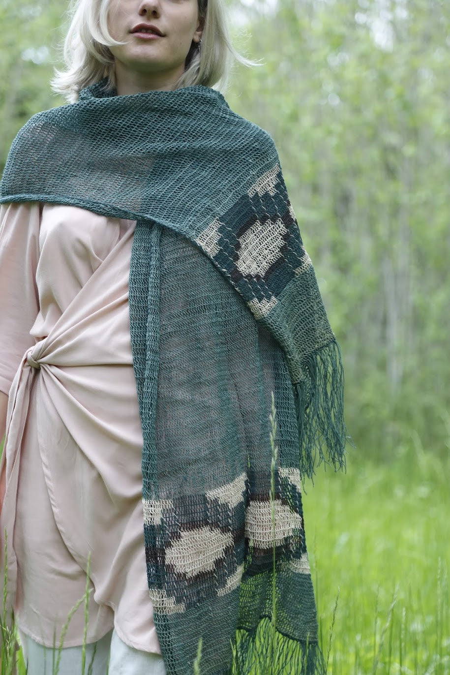 Dark Green Chaguar Shawl with Cream Design Details and Fringe ends.