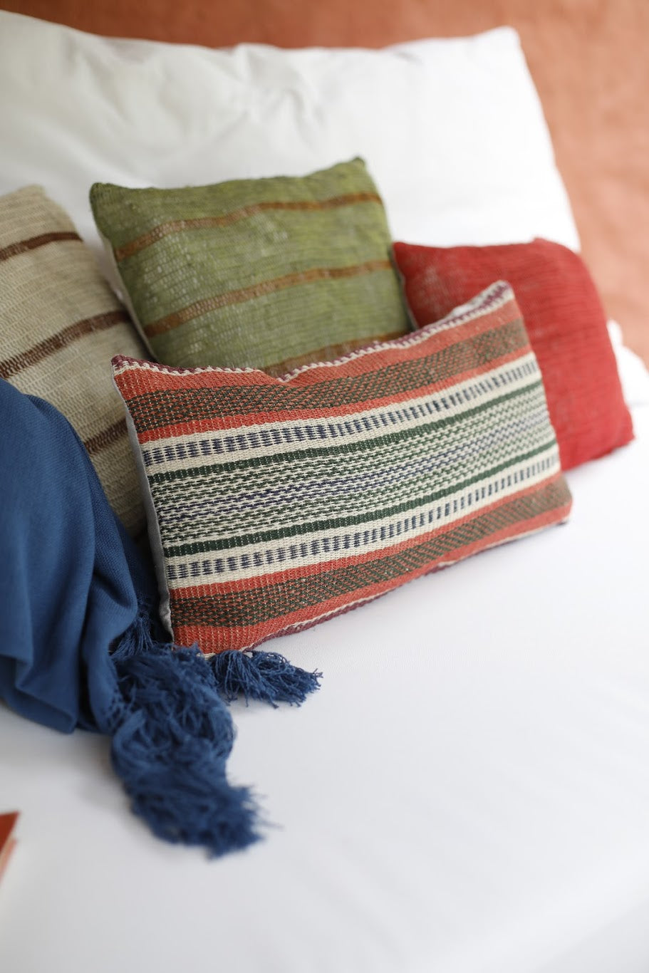 Multicolored Chaguar Loom Cushion with Patterned Design.