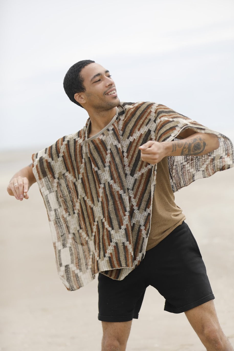 Cream Chaguar Poncho with Multicolored Design Details.