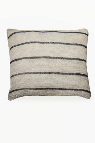 Cream Chaguar Cushion with Black Thin Stripes.