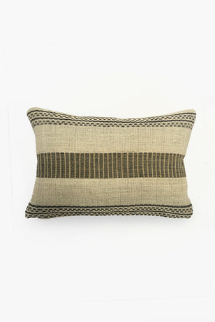 Cream Chaguar Loom Cushion with Black Design Details.