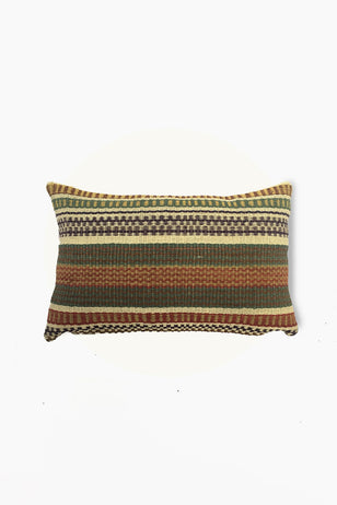 Multicolored Chaguar Loom Cushion with Multicolored Design Stitching Details.