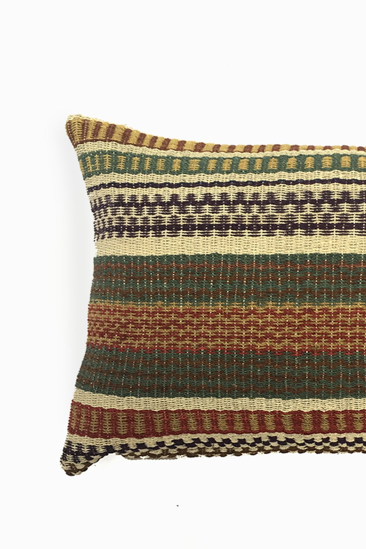 Close up of Multicolored Chaguar Loom Cushion with Multicolored Design Stitching Details.