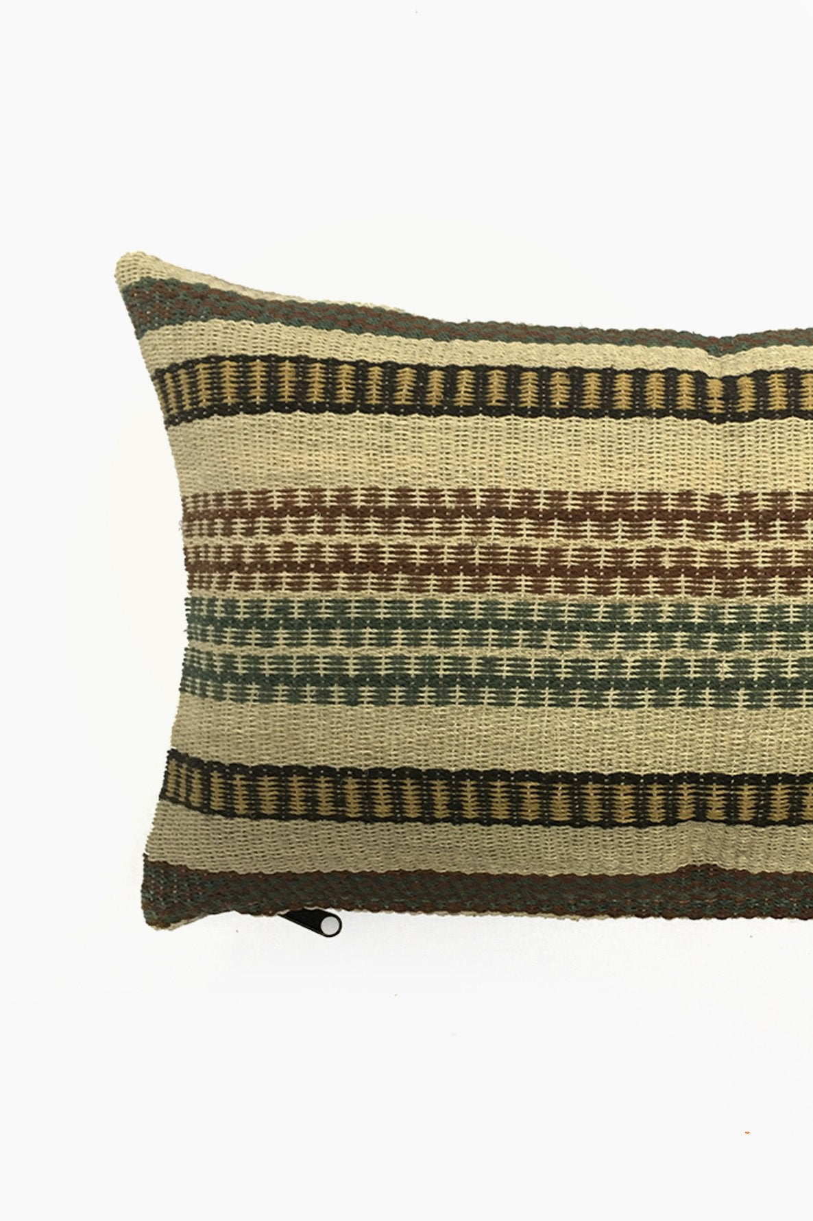 Close up of Cream Chaguar Loom Cushion with Multicolored Design Details.
