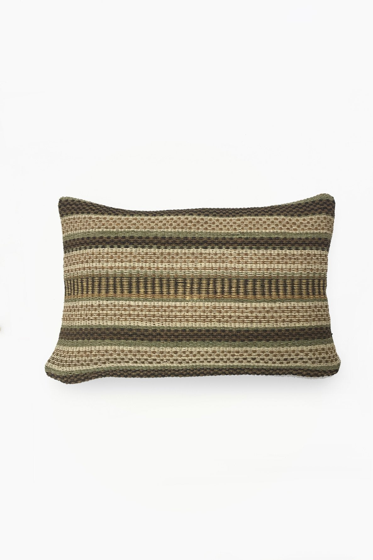Cream Chaguar Loom Cushion with Multicolored Design Details.
