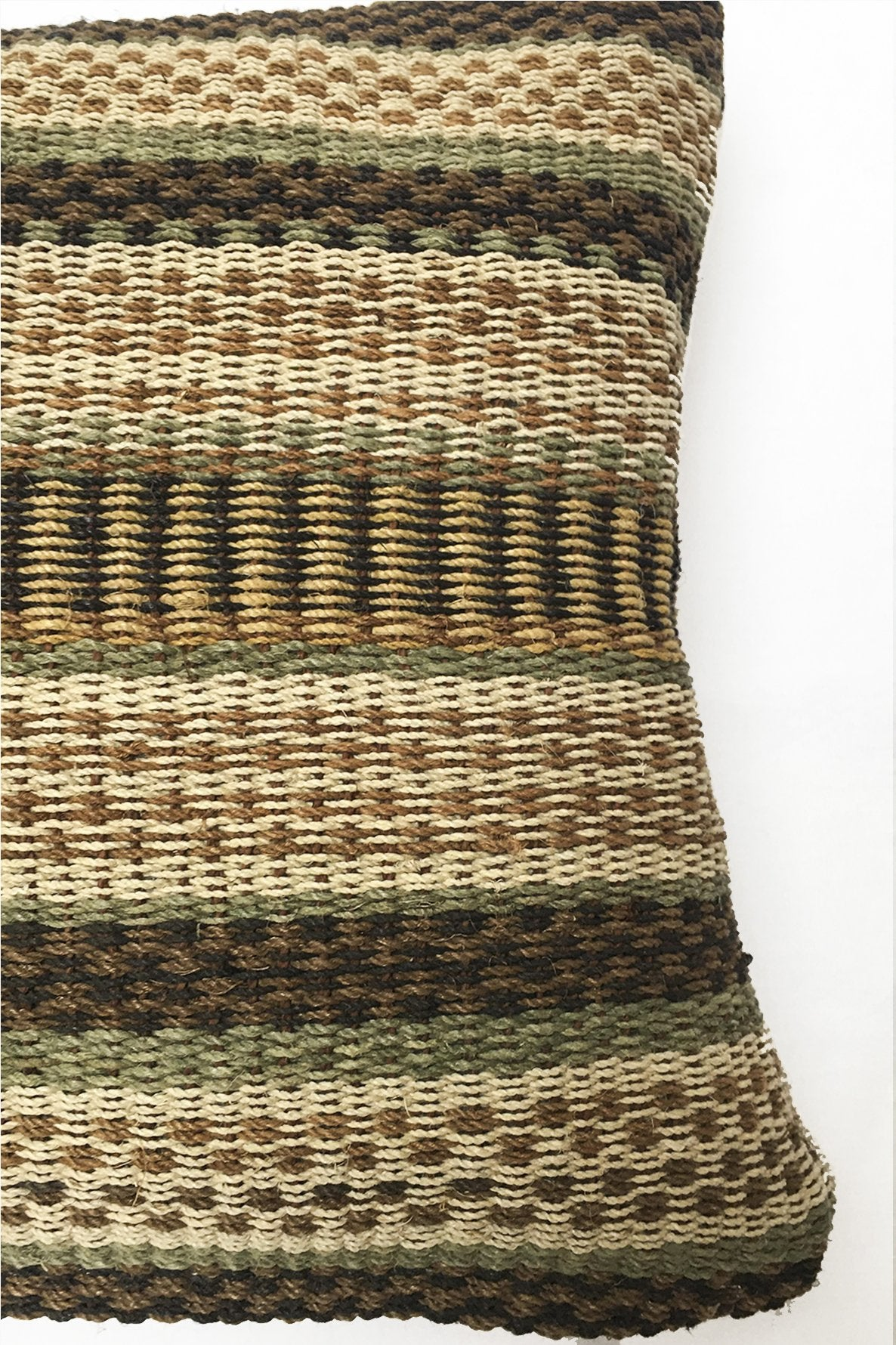 Close up of Cream Chaguar Loom Cushion with Multicolored Design Details. Stitching pattern is emphasized.