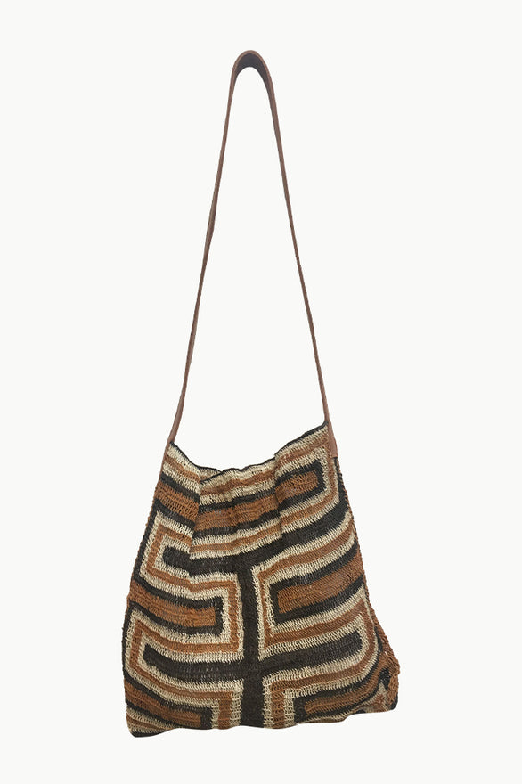 Multicolored Chaguar Purse with Brown and Gray Patterns and Leather Strap.