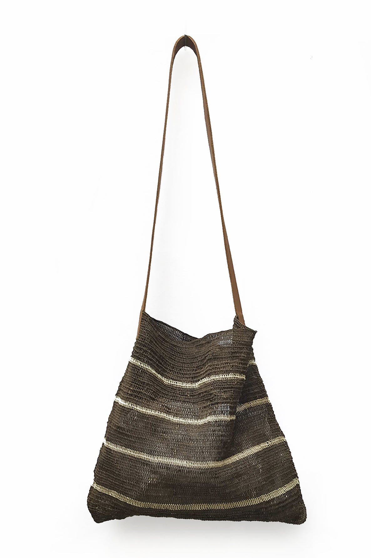 Black Chaguar Purse with Thin White Stripe and Brown Leather Stripes.