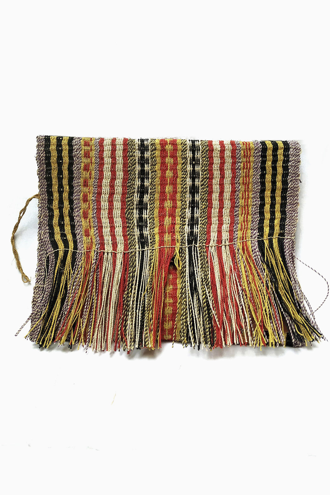 Mulitcolored Patterned Chaguar Clutch Bag with Fringe ends.