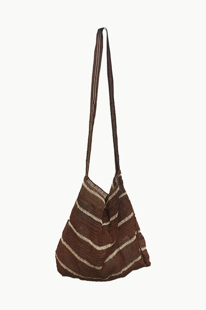 Natural Brown Chaguar Bag with Thin Cream stripes. Brown stripes with Cream details.