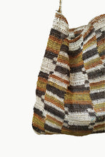 Load image into Gallery viewer, Close up of Multicolored Patterned Chaguar Bandoleer with Brown Strap.