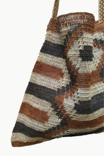 Load image into Gallery viewer, Close up of Cream and Brown Patterned Chaguar Bandoleer with Brown Strap.