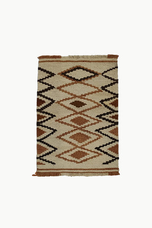 Cream Special Size Wool Tapestry with Dark Brown and Brown Designs.