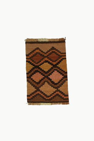 Dark Brown, Brown, Orange, Yellow, and Pink colored Special Size Wool Tapestry.