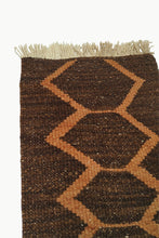 Load image into Gallery viewer, Close up of Dark Brown Special Size Wool Tapestry with Orange Designs and Cream Fringe Ends.