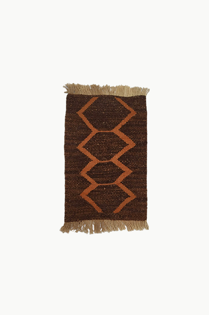 Dark Brown Special Size Wool Tapestry with Orange Designs and Cream Fringe Ends.