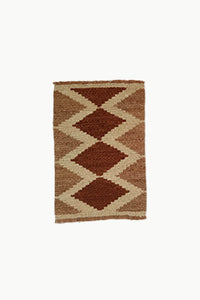 Cream and Brown Special Size Wool Tapestry with Diamond designs.