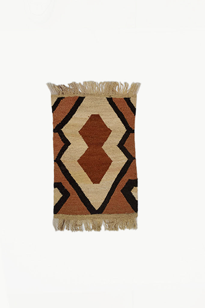 Cream Special Size Wool Tapestry with Brown and Black design with Fringe Ends.