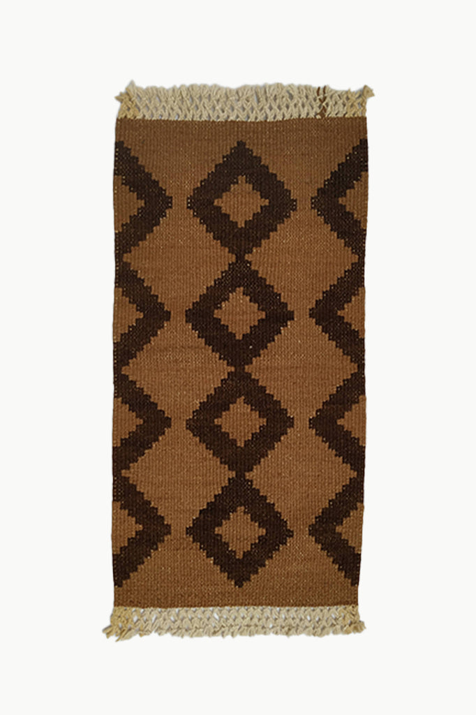 Ochre and Dark Brown Medium size Wool Tapestry with Cream Fringe Ends.