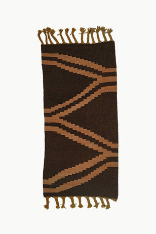 Dark Brown and Ochre Medium size Wool Tapestry with Large Fringe ends.