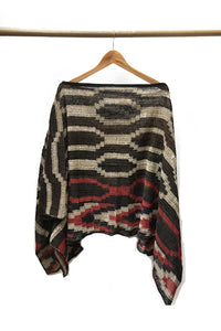 Cream Chaguar Poncho with Red and Black Design Details.
