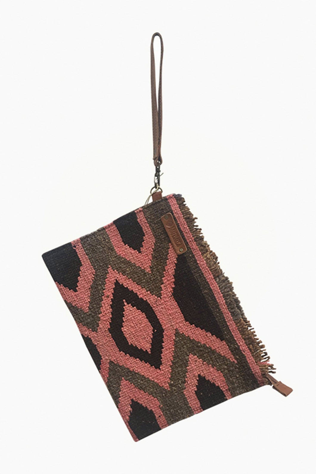 Pink, Natural Brown, and Black Clutch Bag.