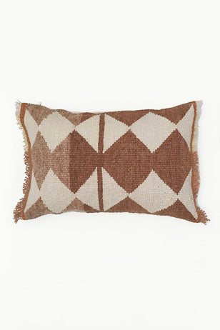 Natural White Tapestry Wool Cushion with Ochre Diamond Designs.