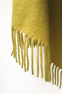 Shiny Mustard llama and sheep wool XL shawl
