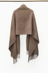 Natural Brown llama and sheep wool XL shawl