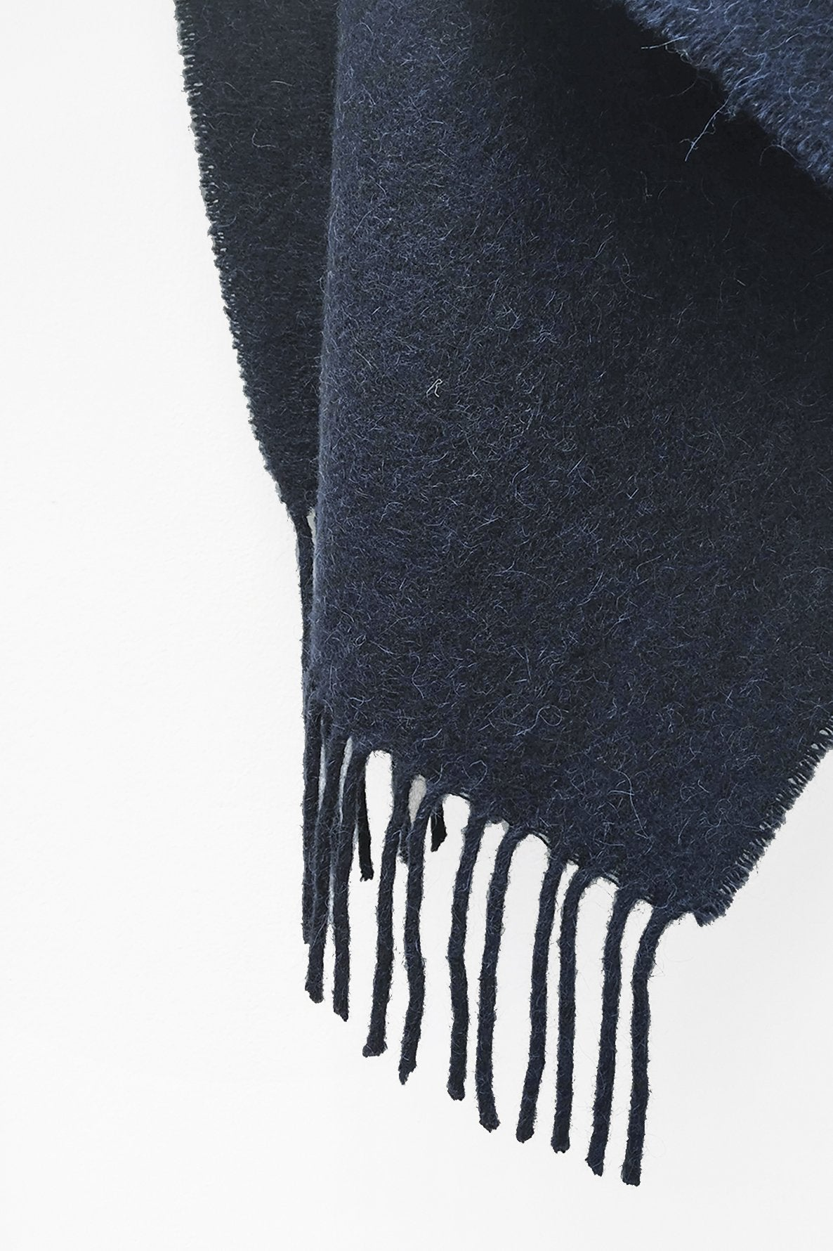 Close up of Fringe Ends of Navy Blue Llama and Sheep Wool XL Shawl.