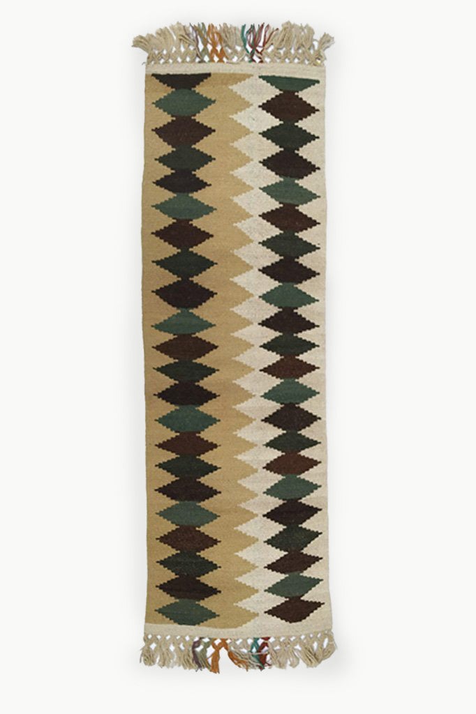 Cream colored XG Wool Tapestry with Dark Brown and Green Diamond Pattern with Cream Fringe.