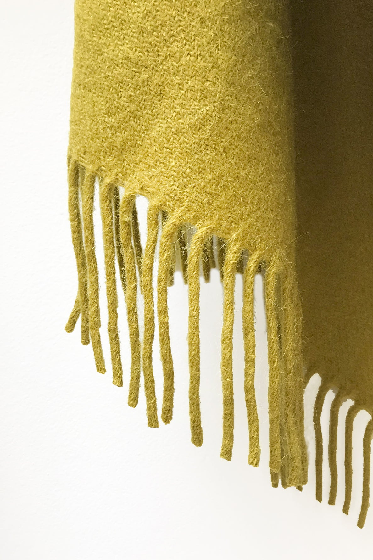 Shiny Mustard llama and sheep wool shawl