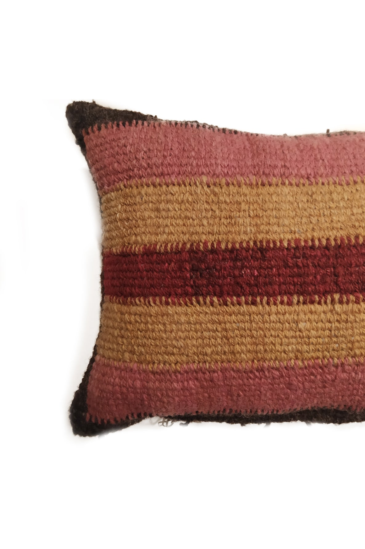 Close up of Black, Pink, Orange, and Red Striped Tapestry Wool Cushion.
