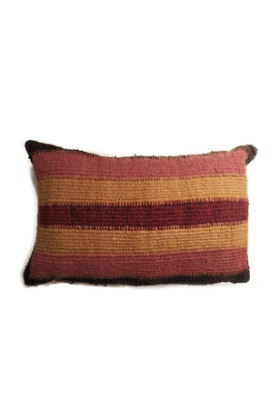Black, Pink, Orange, and Red Striped Tapestry Wool Cushion.