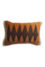 Load image into Gallery viewer, Orange Tapestry Wool Cushion with Dark Brown Designs.