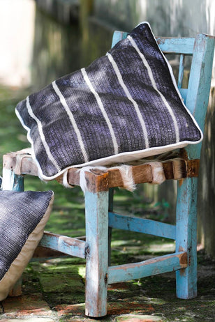 Black Chaguar Cushion with White Thin Stripes.