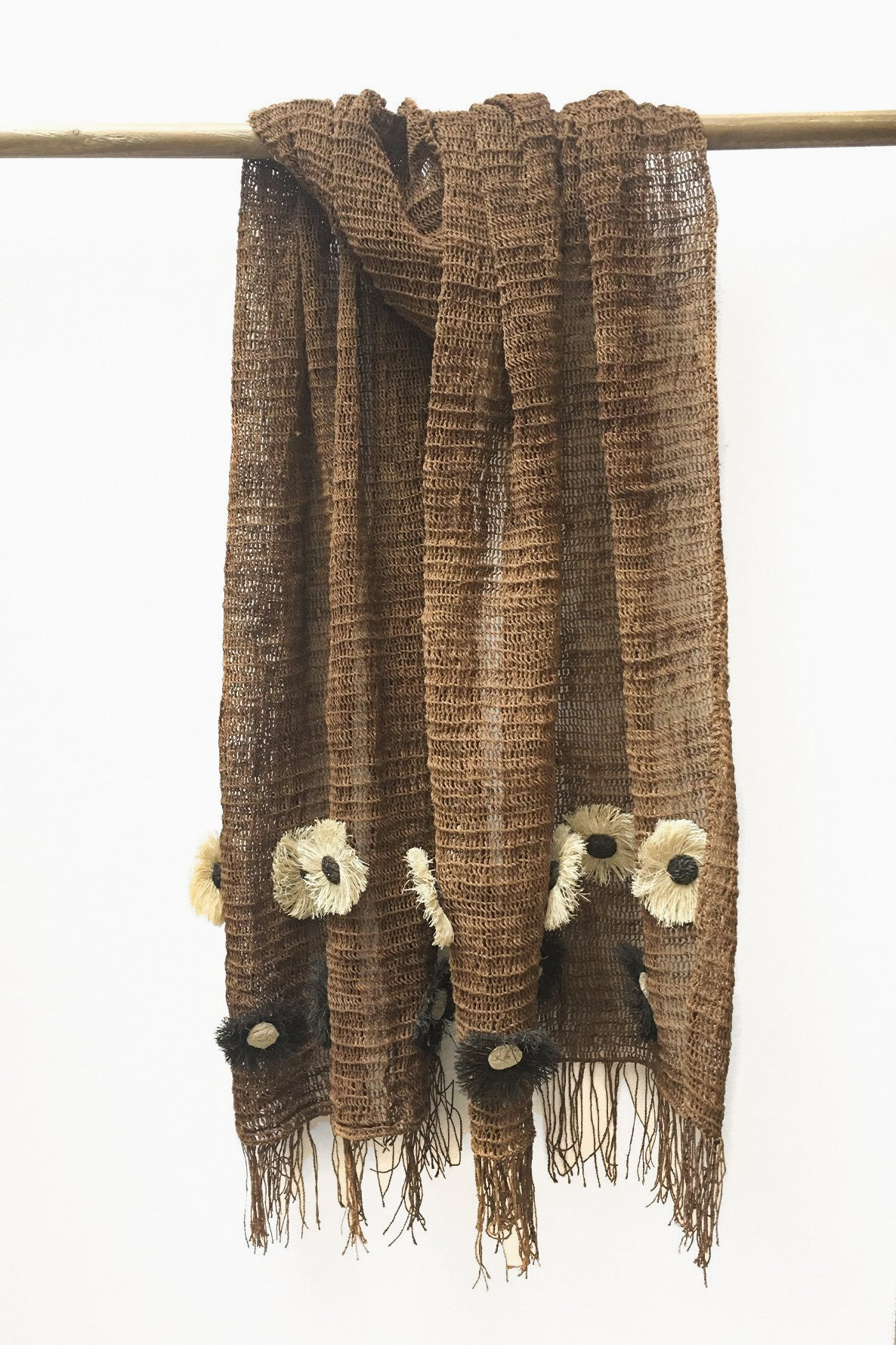 Brown Chaguar shawl with Fringe Ends. Cream and Dark Brown Flower details.