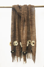 Load image into Gallery viewer, Brown Chaguar shawl with Fringe Ends. Cream and Dark Brown Flower details.