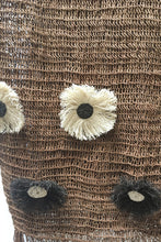 Load image into Gallery viewer, Brown Chaguar shawl with Fringe Ends. Close up of Cream and Dark Brown Flower details.