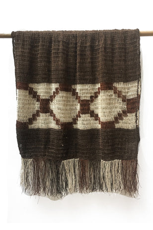 Dark Brown Chaguar Shawl with Dark Brown and Cream Fringe Ends. Cream design details.
