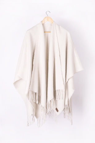 Natural White Llama and Sheep Wool Poncho.